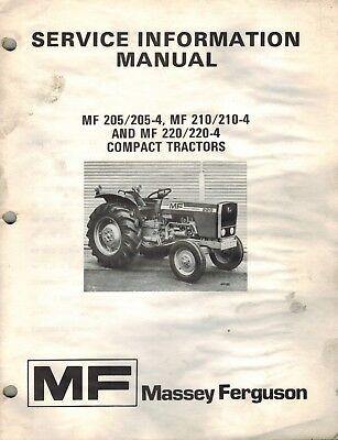 Massey Ferguson Original 205 210 220 Compact Tractors Service Information Manual