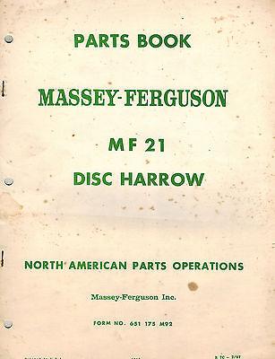 Massey Ferguson 21 Mounted Disc Harrow Parts Manual 1966