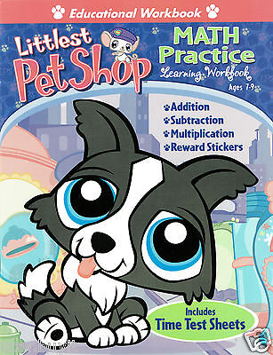 LITTLEST PET SHOP MATH PRACTICE Workbook w/Stickers & Time Test Sheets Ages 7-9  ()