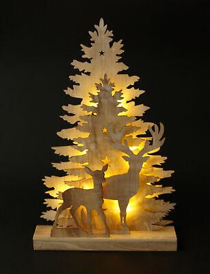 Holzsilhouette Fensterbild Weihnachtsdeko Weihnachtsbeleuchtung Holz 45cm 10 LED