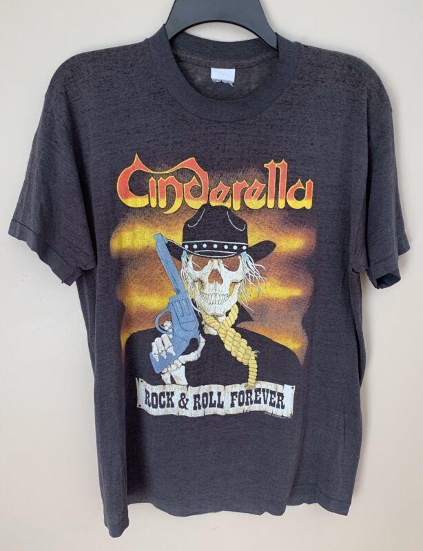 Vintage Cinderella Long Cold Winter Japan Tour T-Shirt Black W/ Logo Size: M