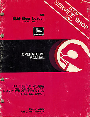 John Deere 60 Skid Steer Operators Manual Serial No. 120001