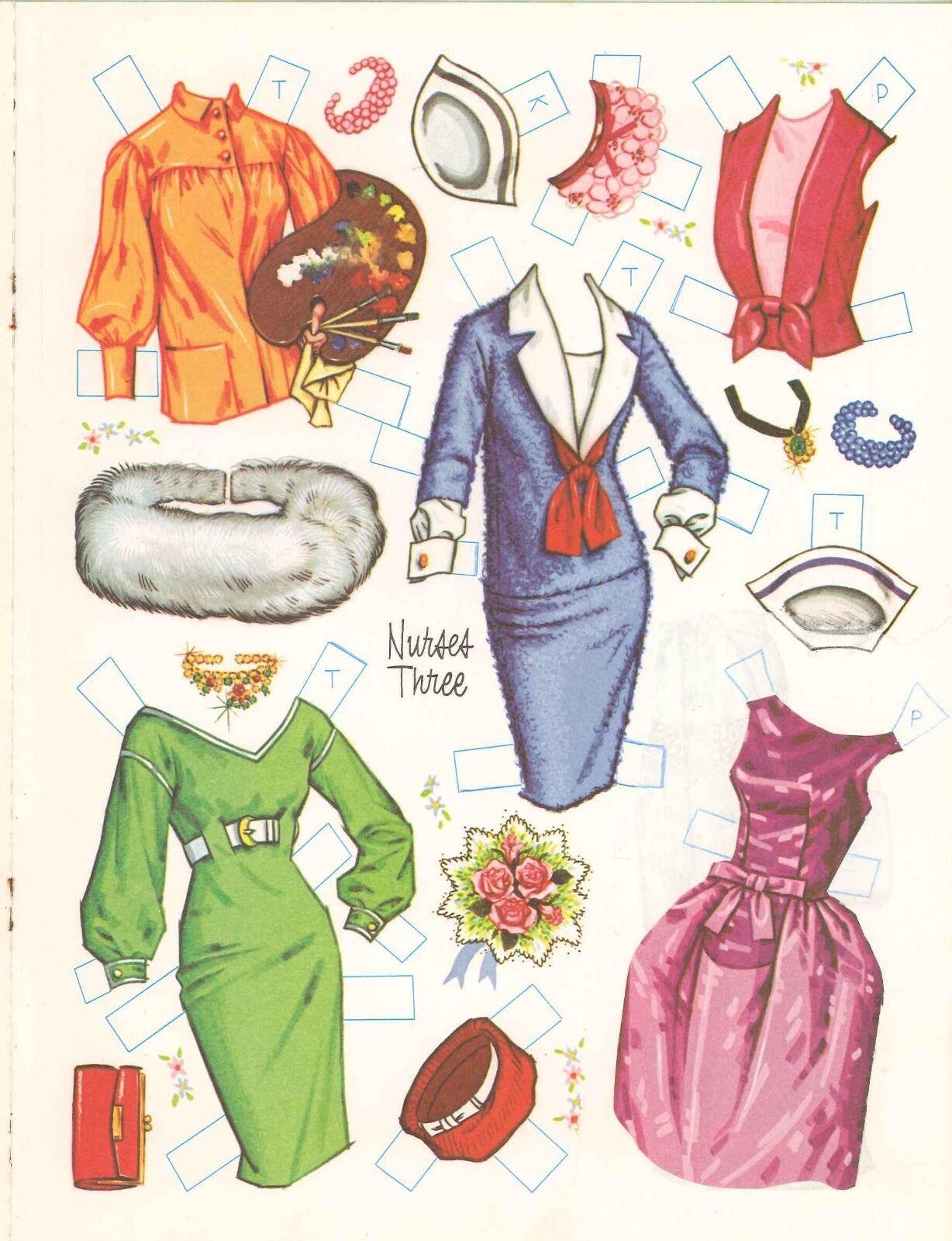 VINTAGE UNCUT 1965 NURSES THREE PAPER DOLLS ~WHITMAN~ORG SZ~LASER REPRODUCTION N