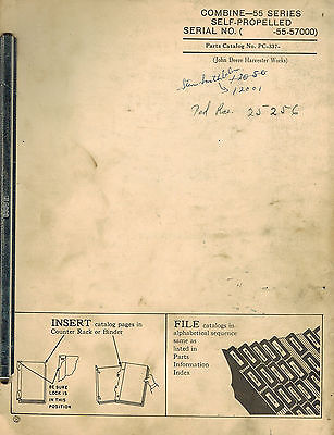 John Deere Vintage 55 Series Self Propelled Combine Parts Manual Pc337 Jd