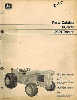John Deere Vintage Original 301 Tractors Parts Catalog Manual Pc-1241