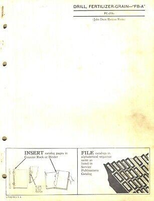 John Deere Fb-a Fertilizer Grain Drills Parts Manual Jd