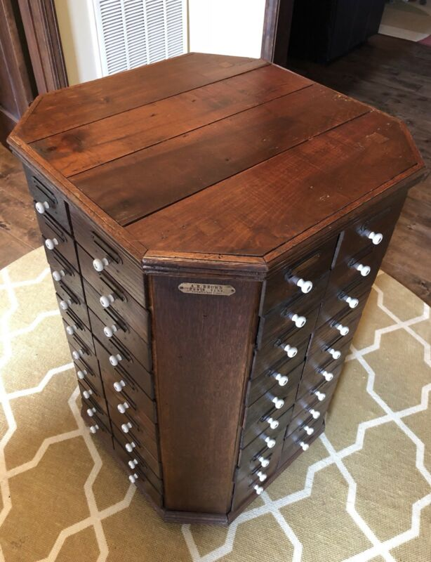 Stunning Antique AR Brown 1901 80 Drawer Bolt Cabinet Octagon Cabinet Furniture