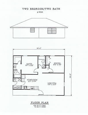 936 Square Foot Two Bedroom House Plan