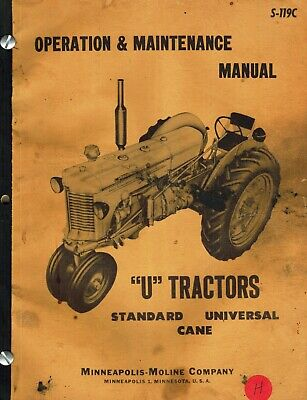 Minneapolis-moline U Tractors Operation Maintenance Manual S-119c 1952