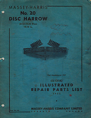 Massey-harris Vintage 20 Disc Harrow Parts Manual 1952