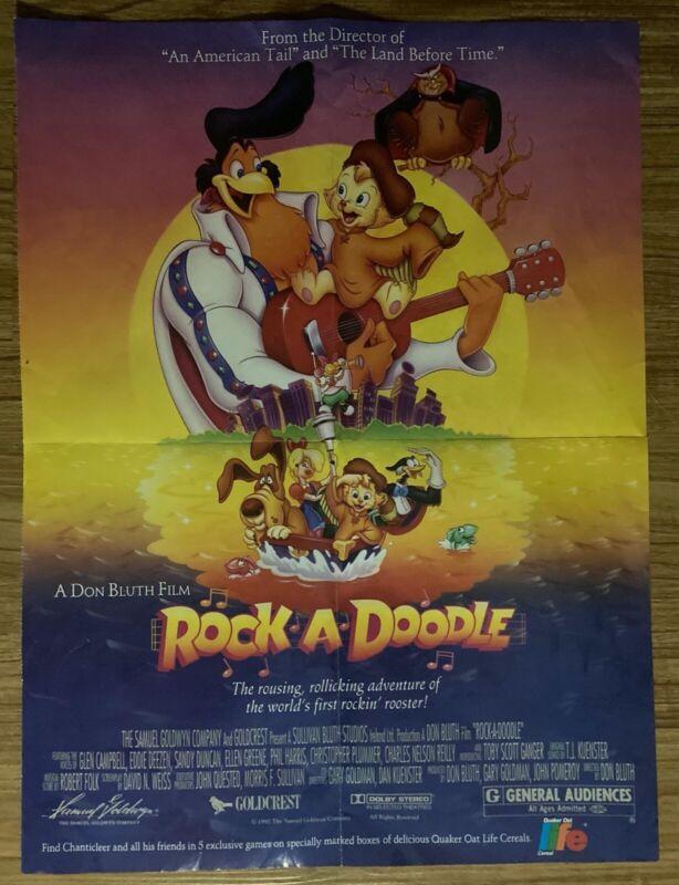 ROCK-A-DOODLE 1992 Cartoon Cult Classic - ORIGINAL Mini Poster by Life Cereal