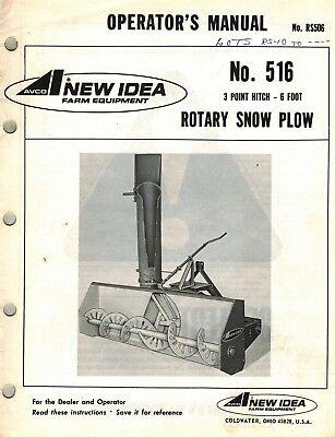 New Idea 516 3pt Hitch Snow Plow Operators Manual
