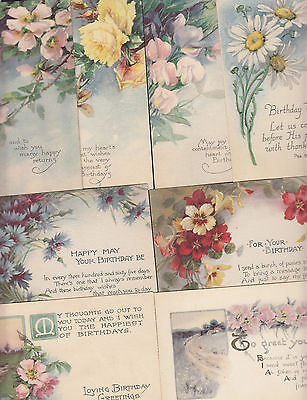 8-Birthday Greetings-Pretty Flowers-Floral-Nice-Antique Postcard Lot