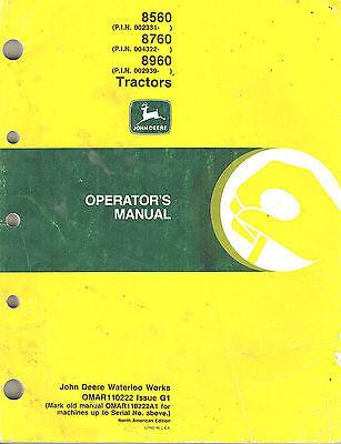 John Deere 8560 8760 8960 Tractor Operators Manual Z