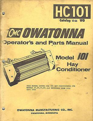 Owatonna 101 Hay Conditioner Parts Operators Manual 1066