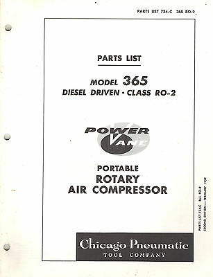 Chicago Pneumatic Vintage 365 Portable Rotary Air Compressor Parts Manual 1959