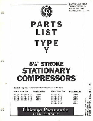 Chicago Pneumatic Vintage Type Y812 Stationary Compressors Parts Manual 1969
