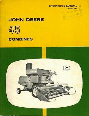 John Deere Vintage 45 Combine Operators Manual Jd New