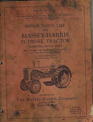 Massey-harris Vintage 55 Diesel Tractor Parts Manual Original 690 086 M4