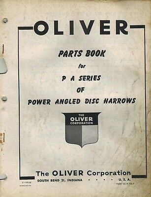 Oliver Vintage Pa Series Trail Disc Harrow Parts Manual