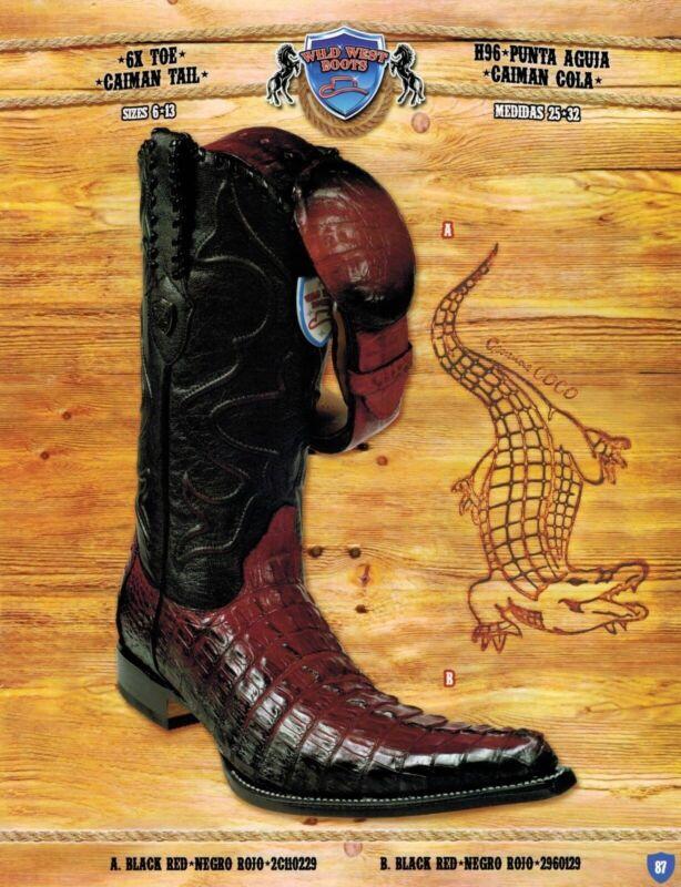 Wild, West, Mens, 6X-Toe, Caiman, Tail, Cowboy, Western, Boots, w/, Belt