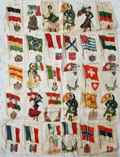 30 Vintage Nebo Cigar Cigarette Tobacco Silk Labels, International Country Flag