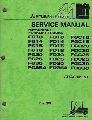 Mitsubishi Attachments Forklifts Service Manual See Pic 2 For All Models