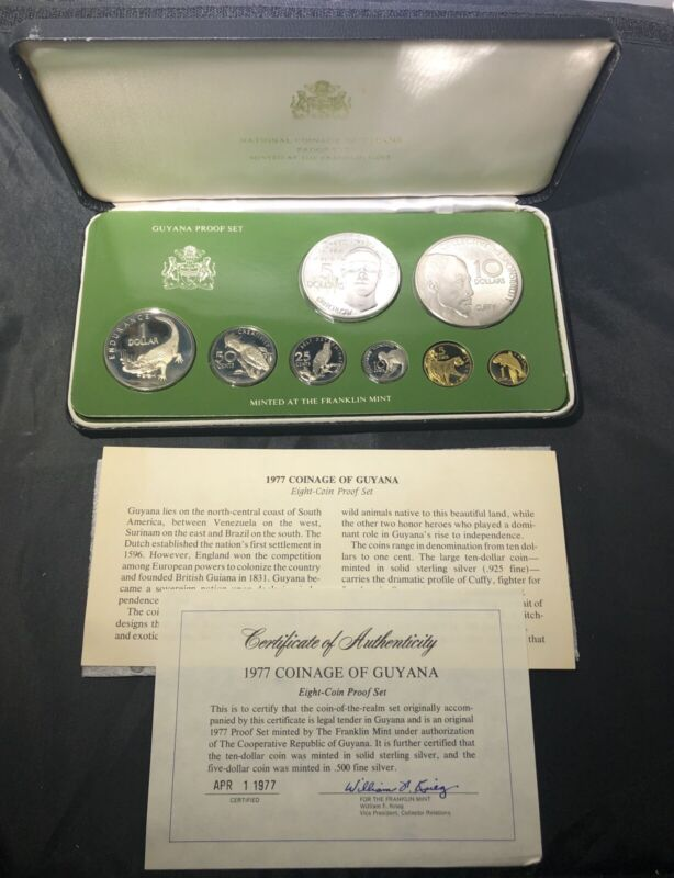 Guyana 1976 and 1977 Silver Proof (8 COIN) Sets: Total ASW 3.77