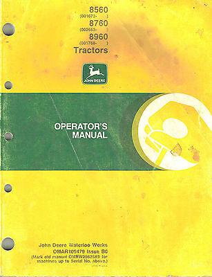 John Deere 8560 8760 8960 Tractor Operators Manual X