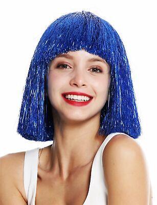 Perücke Damenperücke glatt Pony schulterlang blau Lametta Tinsel Glitter VK-42 (Blaue Lametta Perücke)