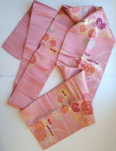 Vintage Japanese Kimono / Silk Nagoya Obi Pink Gold Floral