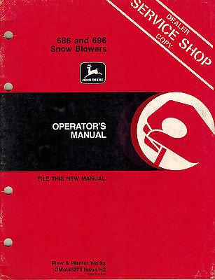 John Deere 686 696 3-point Hitch Snow Blowers Operators Manual Jd New