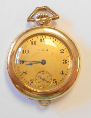 Antique Elgin 14K Gold Case Ladies Pendant Style Pocket Watch 20840910 Grade 431