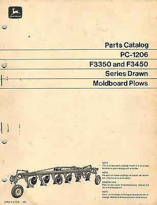 John Deere Vintage F3350 F3450 Drawn Plows Parts Manual Jd