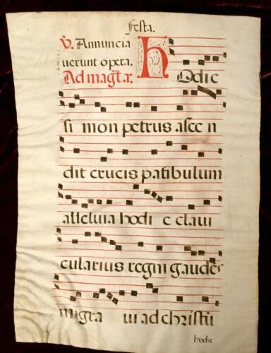 c.1650 ANTIPHONAL VELLUM MUSIC MANUSCRIPT Double-sided Red Black Latin Religious