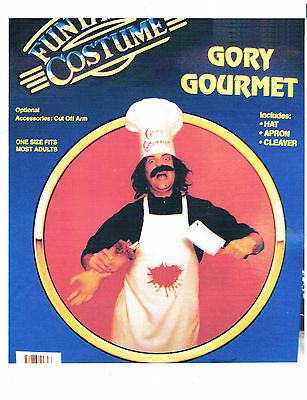 GORY GOURMET HALLOWEEN COSTUME FUNNY SCARY BLOODY BUTCHER CLEAVER CHEF