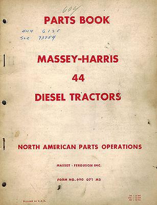 Massey Harris Vintage 44 Diesel Tractors Parts Manual 690071m5