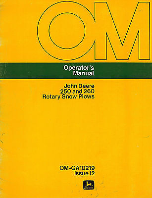 John Deere 250 260 3-point Rotary Snow Plow Snowblower Operators Manual Jd