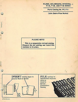 John Deere Vintage F110 F120 F130 Integral Plows Parts Manual Jd