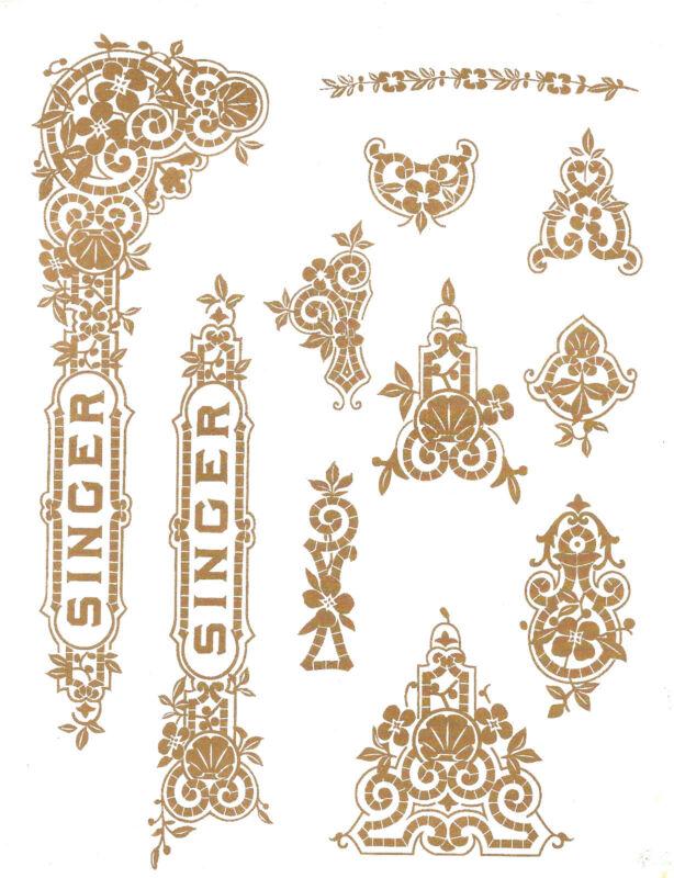 Singer Moderl 27 127 Gingerbread  Style Sewing Machine Restoration Decals