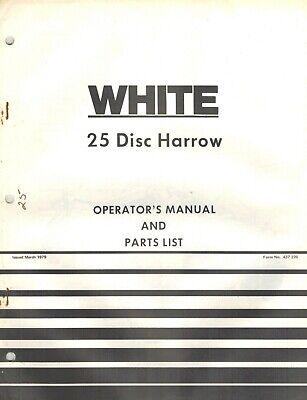White 25 Disc Harrow Parts Operators Manual