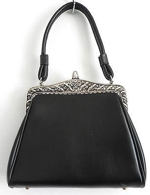 - Vtg Dover Baguette Handbag Black Faux Leather Metal Frame 8