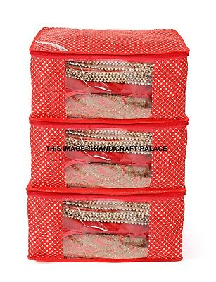 Garment Storage Boxes - 3 PC Fabric Clear Plastic Clothes Sari Saree Garment Storage ,box cover Bags Red