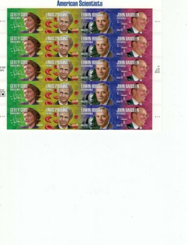Scott # 4224-4227, American Scientists - Pane of 20 (41c) Stamps - 2008 - MNH