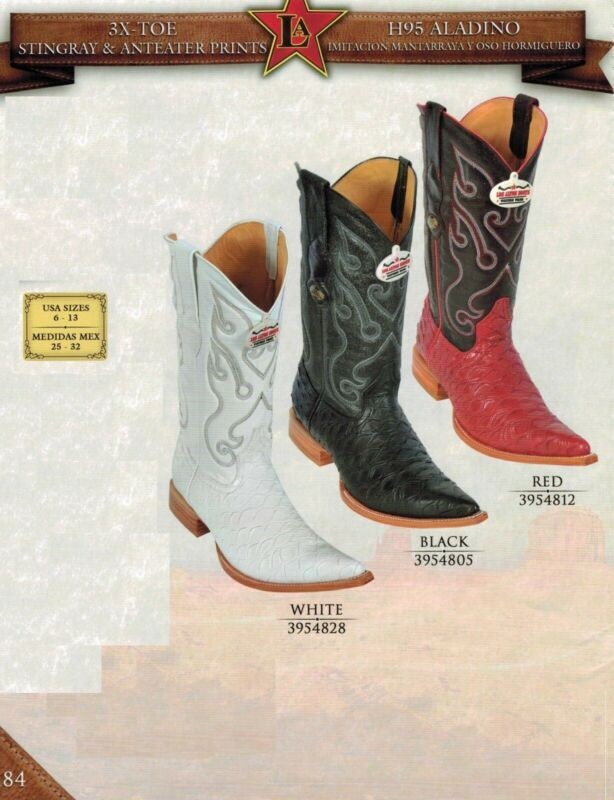 Los, Altos, Mens, 3X, Toe, Anteater, Leather, Embossed, Print, Cowboy, Western, Boots