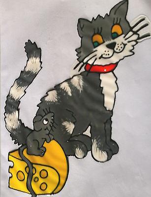 Window Color Fensterbilder Katze und Maus auf Käsestück