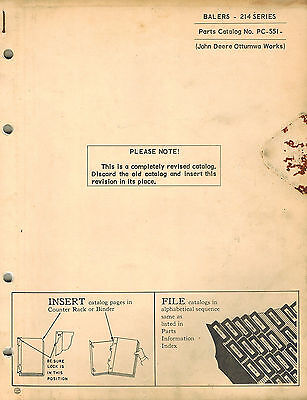 John Deere Vintage 214 Baler Parts Manual Pc-551  Jd