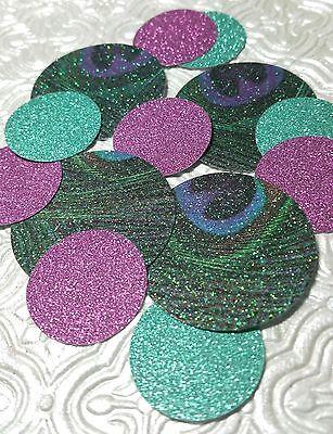 Peacock purple teal dark mint confetti wedding baby shower anniversary birthday