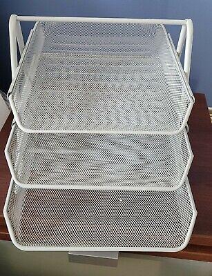 Desk Organizer Mesh Paper Tray 3-tier Sliding Drawer Storage - Silver Color