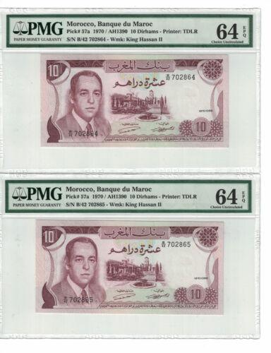 MOROCCO Set of 2 notes x 10 Dirhams 1970 PICK# 57a PMG - 64 EPQ.(#1366)